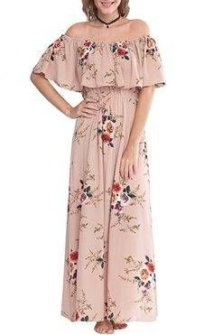 aa65c919ed07 Zattcas Womens Off Shoulder Maxi Dress Summer Boho Long Floral Maxi Dress  at Amazon Women s Clothing