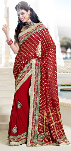 Vibrant Red Color Pure Georgette Half And Half Saree !!  Item Code: SADP2214 !! PRICE:- 11579 /- INR !!  Style: Half N Half Saree occasion: Party, Wedding, Festival, Reception fabric: Pure Georgette color: Red Catalog No.: 1160 work: Stone, Sequins, Applique  SHOP THIS SAREE FROM HERE http://www.vivaahsurat.com/sarees/vibrant-red-color-pure-georgette-half-and-half-saree-sadp2214