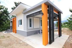 This house concept is simple in design yet the touch of elegance is still in it. With 3 bedrooms, this house is 143 square meters total floor area. Exterior Gray Paint, House Paint Exterior, Exterior Design, Modern Bungalow House Plans, Bungalow House Design, Simple House Design, Modern House Design, Modern Houses, Small Houses