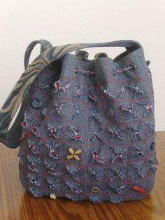 Denim-corduroy shoulder bag
