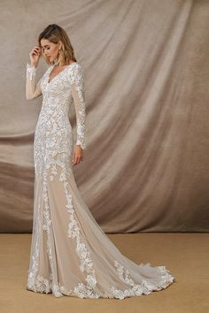 Lace Wedding Dress With Sleeves, Long Sleeve Wedding, Fall Wedding Dresses, Elegant Wedding Dress, Perfect Wedding Dress, Long Sleeved Wedding Dresses, Champagne Lace Wedding Dress, Boho Lace Wedding Dress, Cream Colored Wedding Dress