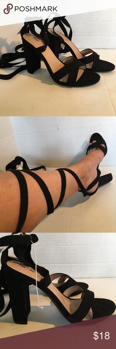 "Lace Up The Leg Stunning Heels Criss cross faux suede lace up the leg stunning high heels. Open toe 4"" heels for the fierce one! They are gorgeous shoes! Mossimo Supply Co Shoes Heels"