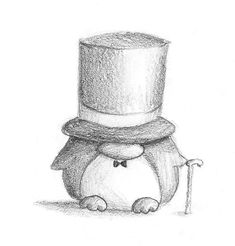 Gentleman Penguin von B-Keks auf DeviantArt - Linda Drache Cool Art Drawings, Pencil Art Drawings, Art Drawings Sketches, Disney Drawings, Cartoon Drawings, Animal Drawings, Fantasy Drawings, Penguin Drawing, Penguin Art