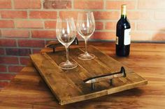 Enjoy a romantic night in this Valentines Day! Bring your loved one a nice bottle of wine in bed, so romantic. Purchase it on our website, www.grainandforge.com!  #VDayGift #Romance #ServingTray #BreakfastInBed #DinnerInBed #DessertTray #CheeseTray #UniqueDecor #Handmade #Handcrafted #KitchenDecor