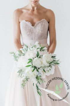 www.tuscanweddingevents.com Elegant and charming bouquet done with white peonies and rosemary. A wonderful mix!