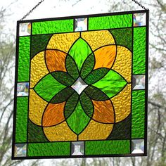 Stained Glass Green Gold Beveled Geometric by LivingGlassArt, $125.00
