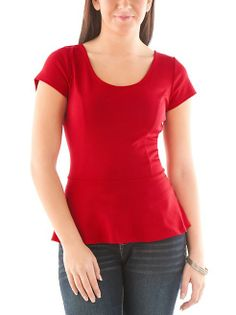 dots: Short Sleeve Cage Back Peplum Top  ----  The back on this top is so sexy hot! Click here to see it! http://www.dots.com/product/Short-Sleeve-Cage-Back-Peplum-Top/159270.uts?keyword=red
