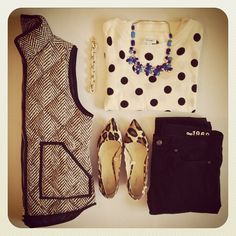 Tweed vest + polka dot three quarter length shirt + statement necklace + black skinnies + leopard heels.
