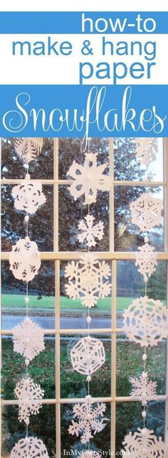 Step-by-step photo tutorial and patterns, plus a simple way to hang paper snowflakes in a window. DIY Holiday Decorations Step-by-step-photo tutorial showing how to make and hang a paper snowflakes window treatment for your holiday decor Noel Christmas, All Things Christmas, Winter Christmas, Christmas Ornaments, Snowflake Ornaments, Christmas Christmas, Origami, Snow Flakes Diy, Snow Flakes Paper