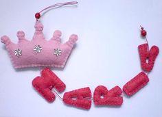 Princess Felt Name Banner  custom made   5 by twinsandcrafts, $24.00