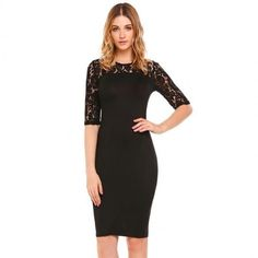 O-Neck Half Sleeve Lace Patchwork Bodycon Slim Dress