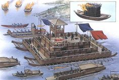Han-dynasty era river warfare. Circa 100 AD. There was little need for sea warfare in China given the convex shape of the land. River warfare dominated as illustrated by these unusual flat-bottomed boats. Fire boats are shown in the upper left. Carrying burning wood, they were set adrift in the direction of the enemy's vessels.: