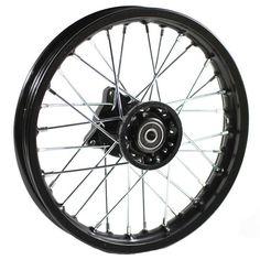 "Chinese Dirt Bike Rim and Spoke Kit - 10"" x 1.4"" Black 32 Spokes"