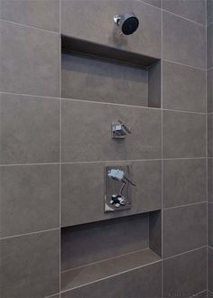 How to install a recessed shampoo niche in an exterior wall of a tile shower without completely screwing up your home's insulation. No cold or hot spots. Bathroom Niche, Bathroom Renos, Bathroom Renovations, Bathroom Interior, Small Bathroom, Modern Bathroom, Niche In Shower, Shower Alcove, Bathroom Canvas