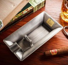 Special Design Metal Cigar Ashtray Metal Ashtray w Creative Design, holds 1 brand new, elegant and modern designSilver and Gold colors NO HASSLE Cigar Ashtray, Cigar Bar, Cigar Holder, Cigar Accessories, Cigar Room, Cigars And Whiskey, Wood Surface, Black Box, Creative Design