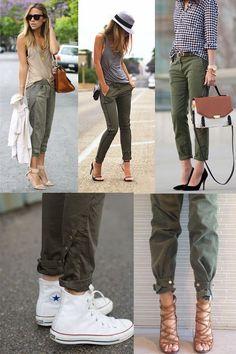 Chaqueta verde militar abierta con jeans y una camiseta blanca f77b42deac86