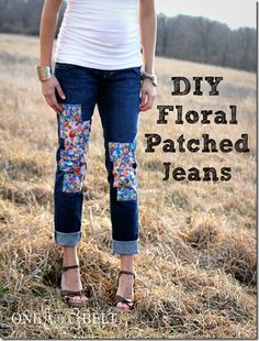DIY Floral Patched Jeans- ONE little MOMMA - would be cute with fabric that blends with the jeans a bit more