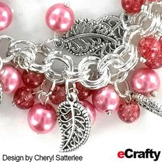 DIY BRACELET TUTORIAL. With just a few supplies from eCrafty.com, Cheryl created a luscious raspberry sparkle bracelet with lacy leaf charms. eCrafty stocks #glass pearls and #sparkle beads in lots of colors and sizes as well as pre-made #chainmaille bracelet bases for your next project w/instructions., clickable supply list & links, #diy #handmade #charms #pearls #pink #chainmaille #diy #crafts #beads #tutorial #diyjewelry #etsy Jump Ring Jewelry, Jewelry Bracelets, Bracelet Tutorial, Beads Tutorial, Jewelry Crafts, Handmade Jewelry, Chainmaille Bracelet, Diy Bracelet, Leather Jewelry