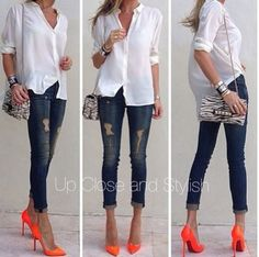 #neon #orange #heels with #jeans and a #white #shirt, #lotd, #fashion