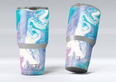 Marbleized Blue Paradise V45 - Yeti Rambler Series Cooler Drinkware Bottle Skin/Decal Kits