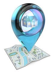 Home. 3D render of a Map with Blue Glass GPS Pointer containing a House.