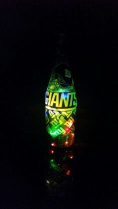 Giants Light Up Wine Bottle   If anyone wants one of these done send me an e-mail at Ashleydunai@gmail.com