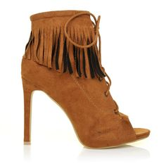 3011c974cd0c JESSICA Tan Faux Suede Fringe Lace Up Peep Toe High Heels