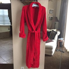 """Victoria's Secret Long Velour Robe Victoria's Secret Long Velour/Terry Robe. Size M/L. Red . VERY THICK AND PLUSH!! Tie belt and side pockets. 50"""" long. 100% cotton. Worn but in VERY GOOD CONDITION!! No trades. Victoria's Secret Intimates & Sleepwear Robes"""