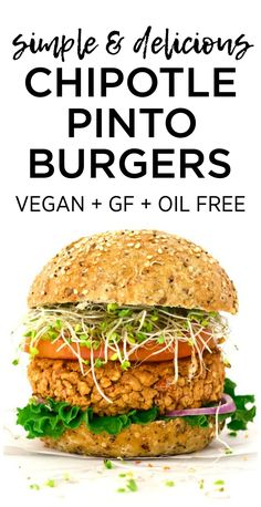 You will LOVE these simple & delicious Chipotle Pinto Burgers! They are vegan, gluten-free, low-fat & oil-free. You will LOVE these simple & delicious Chipotle Pinto Burgers! They are vegan, gluten-free, low-fat & oil-free. Best Vegan Recipes, Vegan Dinner Recipes, Vegan Dinners, Whole Food Recipes, Vegetarian Recipes, Healthy Recipes, Vegetarian Barbecue, Vegetarian Cooking, Copycat Recipes