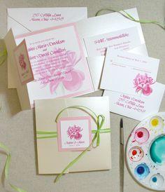 Custom watercolor floral wedding invitations by artist Michelle Mospens. 100% original art.   Mospens Studio