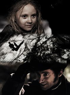 Cossette and Jean Valjean (played by Hugh Jackman) from the 2012 Les Misérables movie.