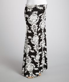 Another great find on #zulily! Black Arabesque Under-Belly Maternity Maxi Skirt by Anticipation #zulilyfinds