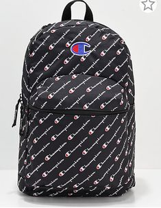 Carry your everyday needs with premium athletic style with the Supercize Logo Script Black Backpack from Champion. Designed with a white Champion script pattern throughout, this black backpack offers a 20 liter carrying capacity with a roomy main compartm Klein Backpack, Laptop Backpack, Black Backpack, Skate Backpacks, Cool Backpacks, Champion Gear, Cute Teenage Boys, Athletic Fashion, Sporty Outfits