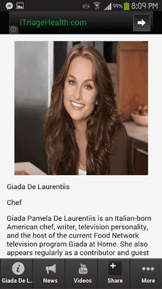 The most unique and high ranking app about Giada De Laurentiis! <p>This is the most complete app you want when it comes to information about giada de laurentiis recipes. <p>Get the latest updates, news, information, videos, photos, events and amazing deals for giada de laurentiis net worth app fans.<br> <br>Download this app now! <p>Giada Pamela De Laurentiis is an Italian-born American chef, writer, television personality, and the host of the current Food Network television program Giada at…