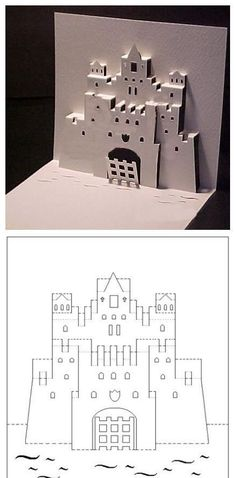 Kirigami castle pop-up Paper Pop, Diy Paper, Paper Crafts, Origami And Kirigami, Origami Paper, Pop Up Art, Paper Folding, Diy Cards, Paper Cutting