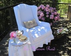 DIY slipcover for wing back chair. From thrift store find to absolutely fabulous!
