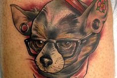 Hipster chihuahuas and rabbits wearing monocles are just some of the quirky subjects inked by tattooist Anya Gladun. Bold linework and a taste for whimsy unify her body of work. A professional tattoo artist since 2008, Anya currently works at The Body Gallery in Sterling, Virginia.
