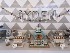 Stunning dessert table at a tribal boho birthday party! See more party planning ideas at CatchMyParty.com!