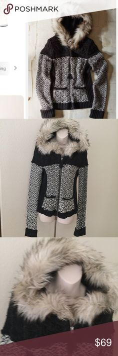 """Anthropologie Sleeping On Snow ❄️ Faux Fur Jacket This is a beautiful Anthropologie Sleeping On Snow Knit hoodie. Size small. Black and white with a brown Faux fur hood. Made of acrylic and wool. Has two front pockets, zips closed. Bust 34"""" waist 33"""". Great condition. Anthropologie Sweaters"""