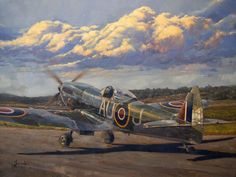 Painting by Jean Brunette ~ Spitfire Mk XVI taxiing in the warm glow of late afternoon light with the familiar rolling hills of Gatineau as a backdrop.