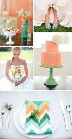 aqua and peach wedding - Google Search