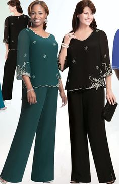 Tienda Online 2015 New Plus Size Custom-made Green Chiffon Long Sleeves Embroidery Mother of the Bride Pant Suits Mother Suits Robe De Soiree Dressy Pant Suits, Formal Pants, Formal Wear, Formal Dresses, Mother Of The Bride Suits, Mother Of Groom Dresses, Mother Bride, Bride Dresses, Plus Size Womens Clothing