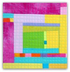 """Melody Johnson Cotton Candy #2 Hand dyed cottons, machine pieced and machine quilted, 12x12.5"""""""