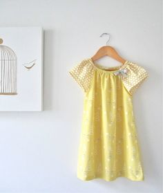 Toddler Girls Organic Dressbutter yellow cotton by ChasingMini, $45.00