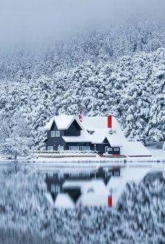 """"""": Lake house in Bolu, Turkey. Winter Snow, Winter Time, Winter Photography, Landscape Photography, Winter Photos, Winter Scenery, Snow Scenes, Winter Beauty, Belle Photo"""