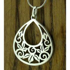 Floral Leaf Teardop Silver Pendant (269) | Silver Bubble: https://silverbubble.co.uk/floral-leaf-teardrop-silver-pendant-269
