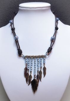 Necklace leather cord & miracle beads