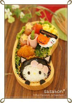 黒ねこキティのハロウィン弁当(キャラ弁)の画像 | ずぼらな主婦キャラ弁にはまるっ!!の巻