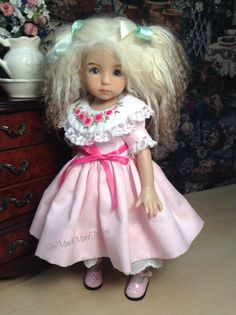 Sweet Roses Hand Embroidered Ensemble w Hat for Effner Little Darling Doll | eBay