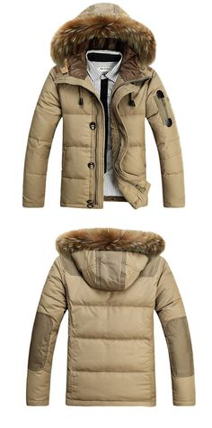 Mens Winter Outdoor Thick Warm Solid Color Fur Collar Duck Down Jacket Hooded Coat 4 Color at Banggood